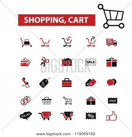 shopping, cart icons, shopping & sales logo, cart icons vector,  flat illustration concept,  logo,  symbols set, shopping cart