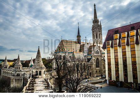 Fishermen's Bastion And Matthias Church In Budapest