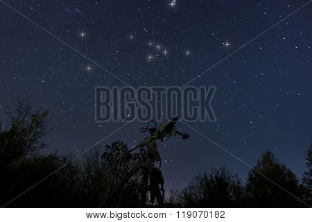 Telescope and real Night sky. Taurus in real night sky