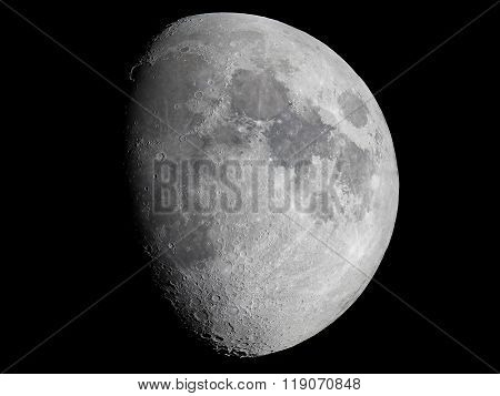 Moon with telescope night sky