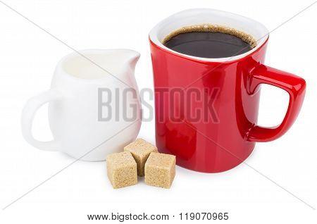 Red Mug Coffee, Sugar Cubes And Milk Jug On White