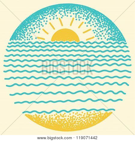 Sea Sunset With Sun, Sea Waves And Sand.