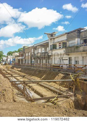 Perspective View Shot Of Street Repair In Montevideo Uruguay