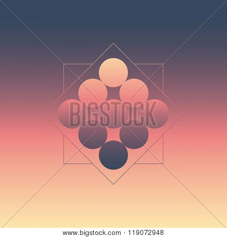 Abstract geometric background with circles and blurred gradients. 1980s style wallpaper.