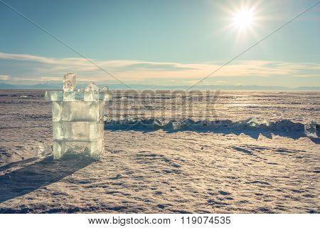 Ice Cube Sculpture Tower Shape On Frozen Baikal Lake