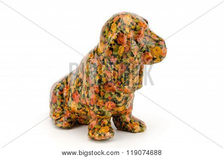 Statuette Of Dog Isolated On White Background With Clipping Path,vintage Statuette Of Dog