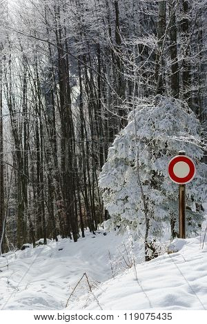 Moving Interdict Road Sign In Winter Forest