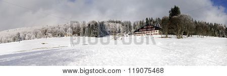 Snow-covered Hill Flank Wide Panoramic View