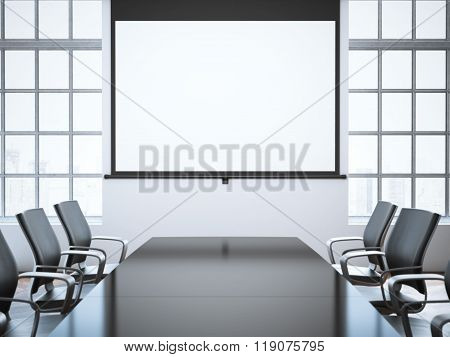 Modern office room with projector screen. 3d rendering