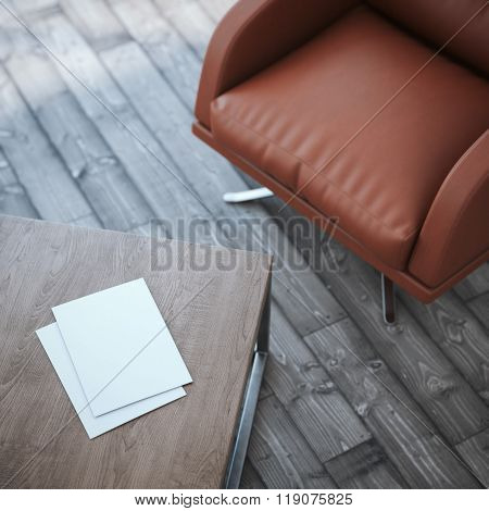 Wooden table with two paper sheets.3d rendering