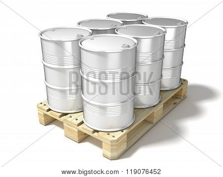 White oil barrels on wooden euro pallet. 3D