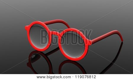 Pair of red round-lens eyeglasses, isolated on black background.