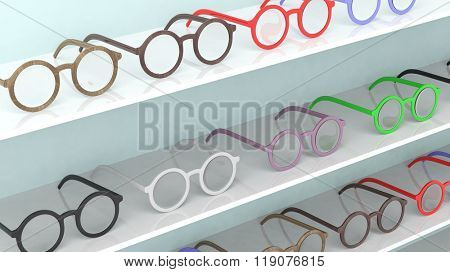Various color round-lens eyeglasses set on shelves