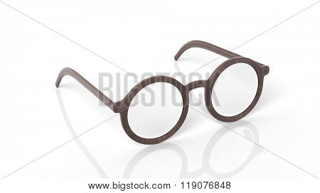 Pair of wooden round-lens eyeglasses, isolated on white background.