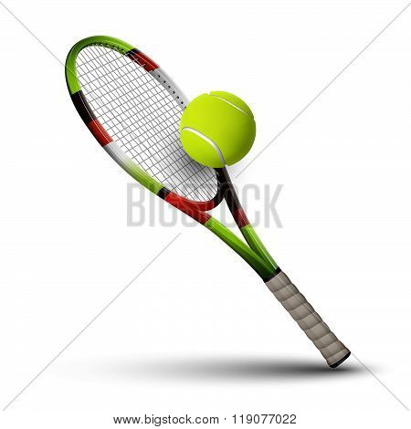 Tennis Symbols Racket And Ball Isolated On White Background