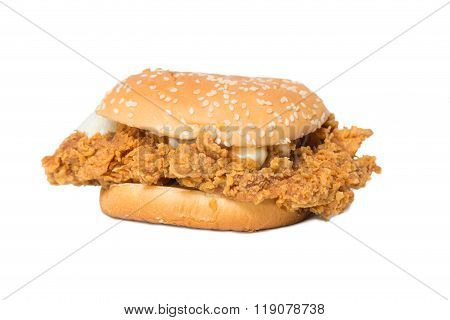 Crisp Chicken Burger With Lettuce Isolated On White