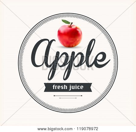 Apple juice. Detailed Vector label.