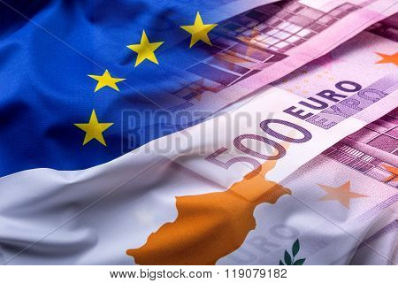 Flags of the Cyprus and the European Union. Cyprus Flag and EU Flag. World flag money concept