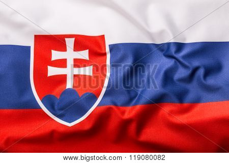 Flags of the Slovak Republic and the European Union. Slovak republic Flag and EU Flag. World flag