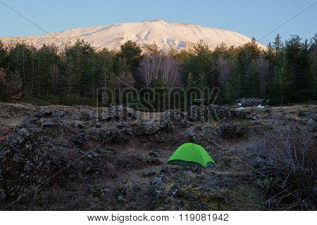 green tent under volcano Etna National Park, Sicily