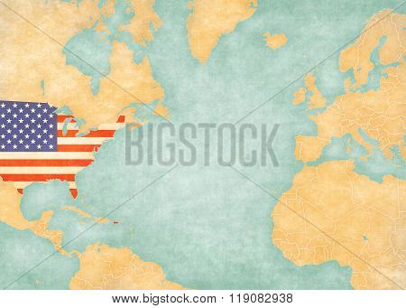 Map Of North Atlantic - United States (vintage Series)