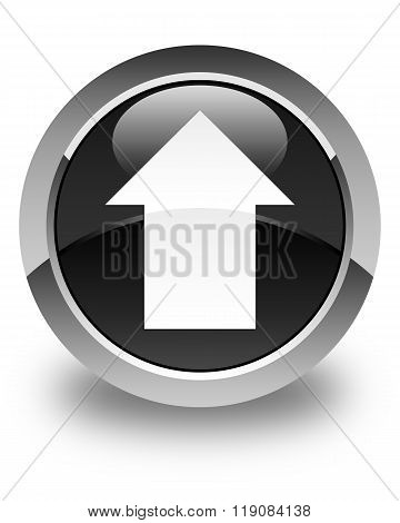 Upload Arrow Icon Glossy Black Round Button