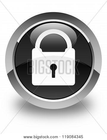 Padlock Icon Glossy Black Round Button