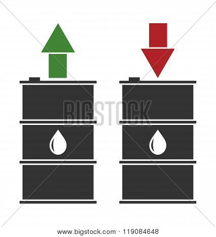 black oil barrel with red and green arrows on white background
