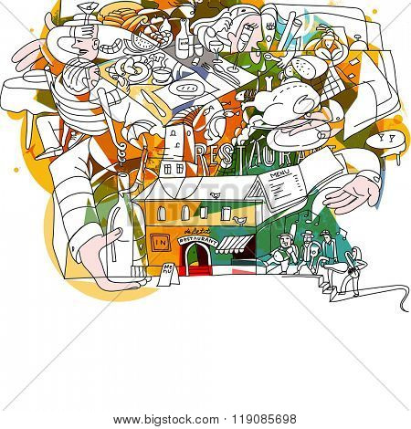Doodle drawing of restaurant atmosphere. Creative funky food theme illustration.