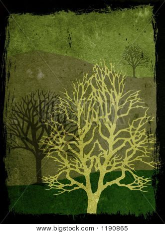 Grunge Trees Illustration - Green