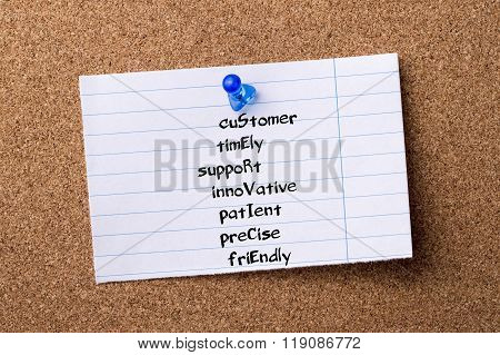 Customer Timely Support Innovative Patient Precise Friendly Service - Teared Note Paper Pinned On Bu