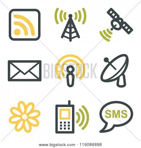 Communication web icons, wireless and smartphone, sms and mail, vector stock signs