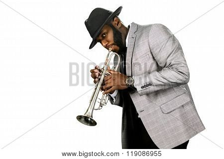Bearded trumpet player.