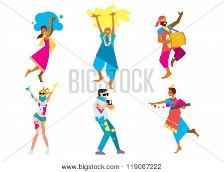 Holi people in traditional costumes. Holi background. Holi vector. Traditional Indian festival Holi. Bengali New Year. Holiday of spring. Holi colorful illustration. Holi holiday. Holi Art. Holi colors. Holi celebration, Happy Holi. Cartoon Indian dancer.