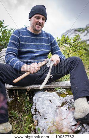 Hiking trekking in mountains