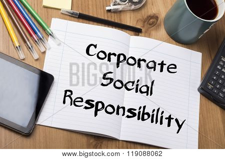 Corporate Social Responsibility Csr - Note Pad With Text