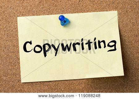 Copywriting - Adhesive Label Pinned On Bulletin Board