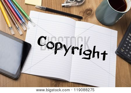 Copyright - Note Pad With Text