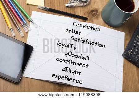 Conviction Trust Satisfaction Loyalty Gooodwill Commitment Delight Experience Customer - Note Pad Wi