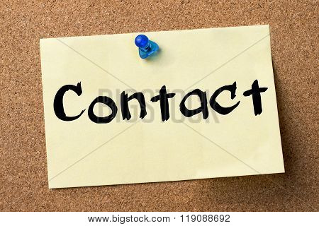 Contact - Adhesive Label Pinned On Bulletin Board