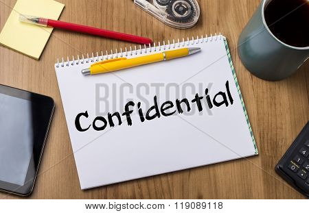 Confidential  - Note Pad With Text