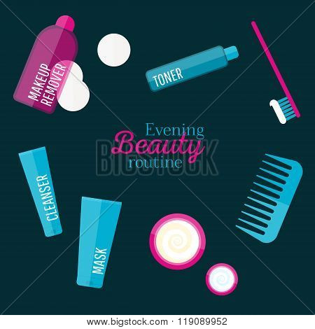 Vector Evening Beauty Routine Illustration Set In Flat Style