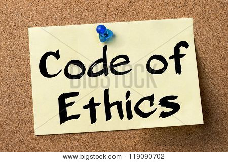 Code Of Ethics - Adhesive Label Pinned On Bulletin Board