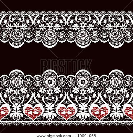 White Seamless Valentine Lace Lacy Pattern Texture On Black