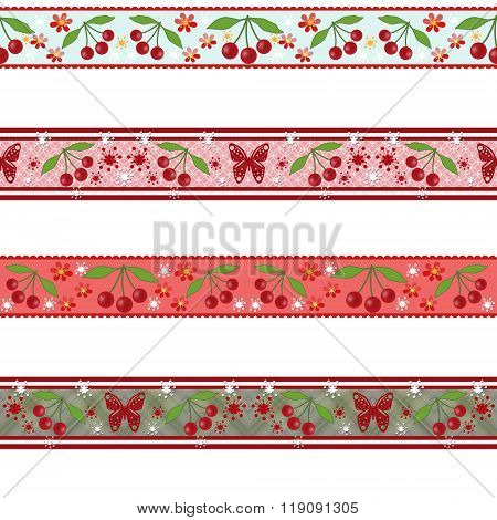Pattern With Cherries And Butterflies On White