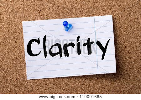 Clarity - Teared Note Paper Pinned On Bulletin Board