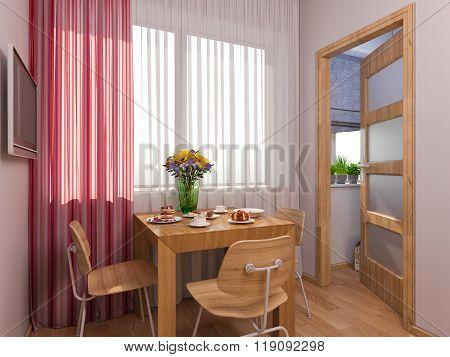 3D Visualization Of Interior Design Kitchen In A Studio Apartment.
