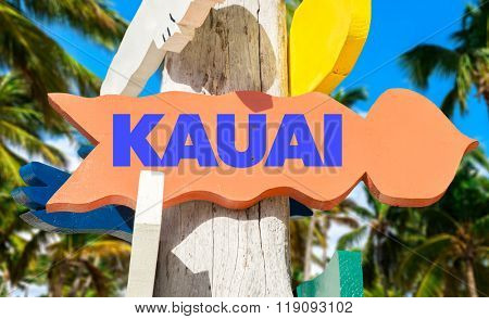 Kauai welcome sign with palm trees