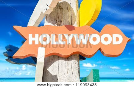 Hollywood welcome sign with beach