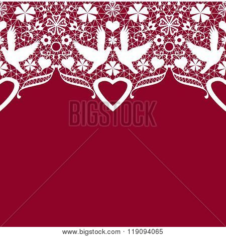 White Seamless Lace Pattern On Red